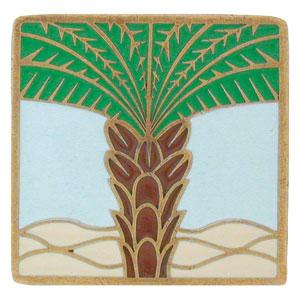Antique Brass/Pale Blue Royal Palm Knob