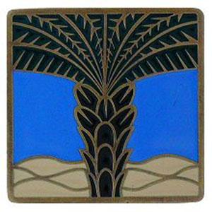 Antique Brass/Periwinkle Royal Palm Knob