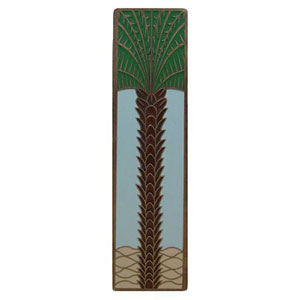 Antique Brass/Pale Blue (Vertical) Royal Palm Pull