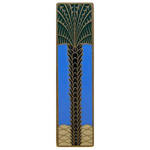 Antique Brass/Periwinkle (Vertical) Royal Palm Pull