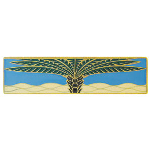 Antique Brass/Periwinkle (Horizontal) Royal Palm Pull
