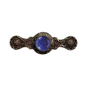 Antique Brass Victorian Jeweled Pull with Blue Sodalite Stone