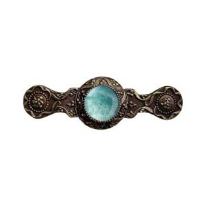 Antique Brass Victorian Jeweled Pull with Green Aventurine Stone