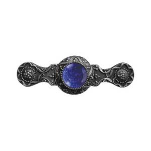 Antique Pewter Victorian Jeweled Pull with Blue Sodalite Stone