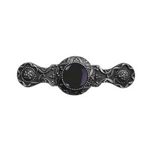 Antique Pewter Victorian Jewel Onyx Pull
