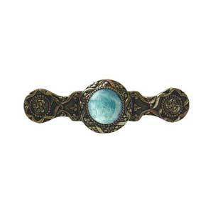 Brite Brass Victorian Jeweled Pull with Green Aventurine Stone