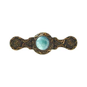 24 K Gold Plate Victorian Jeweled Pull with Green Aventurine Stone