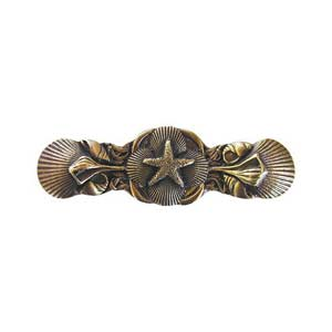 Antique Brass Seaside Collage Pull