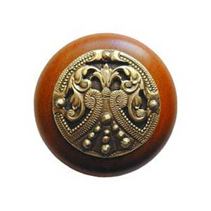 Cherry Wood Regal Crest Knob with Antique Brass