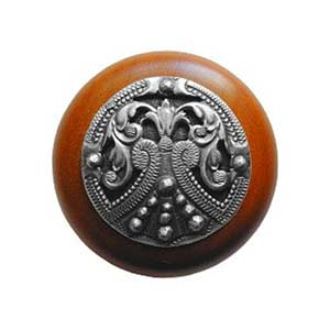 Cherry Wood Regal Crest Knob with Antique Pewter