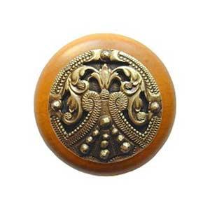 Maple Regal Crest Knob with Antique Brass