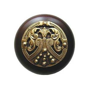 Dark Walnut Regal Crest Knob with Antique Brass