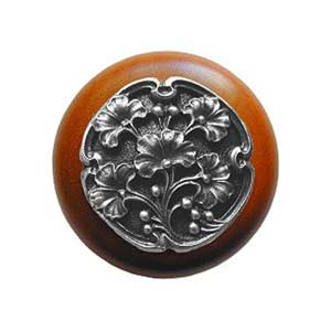 Cherry Wood Ginkgo Berry Knob with Antique Pewter