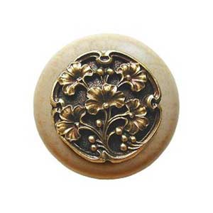 Natural Wood Gingko Berry Knob with Antique Brass