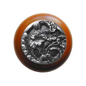 Cherry Wood Hibiscus Knob with Antique Pewter