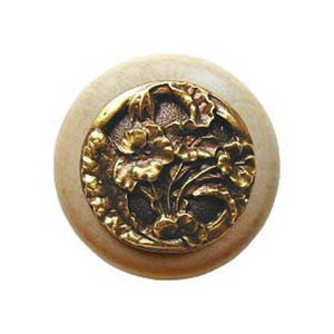 Natural Wood Hibiscus Knob with Antique Brass
