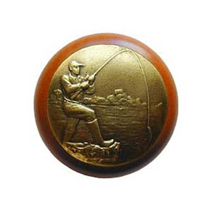 Cherry Wood Catch Of The Day Knob with Brass