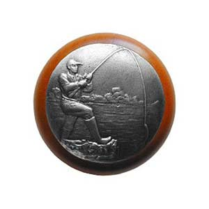 Cherry Wood Catch Of The Day Knob with Pewter