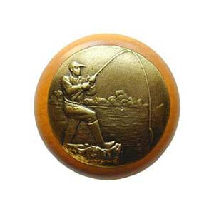 Maple Catch Of The Day Knob with Brass