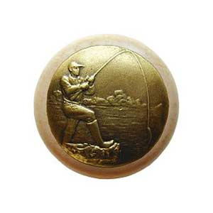 Natural Wood Catch of the Day Knob with Brass