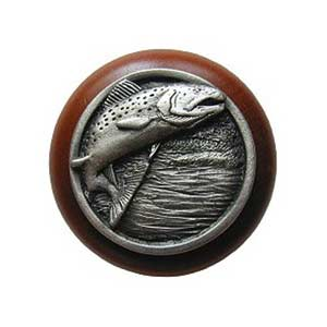 Cherry Wood Leaping Trout with Antique Pewter