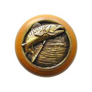 Maple Leaping Trout Knob with Antique Brass
