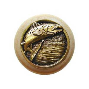 Natural Wood Leaping Trout with Antique Brass