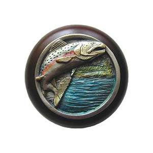 Dark Walnut Wood Leaping Trout Know with Hand Tinted Pewter