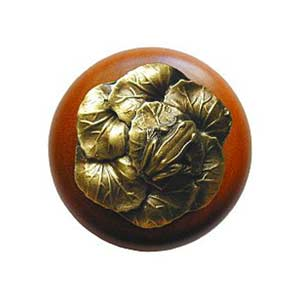 Cherry Wood Leap Frog Knob with Antique Brass