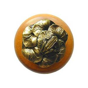 Maple Leap Frog Knob with Antique Brass