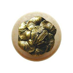 Natural Wood Leap Frog Knob with Antique Brass
