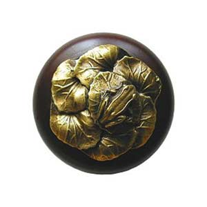 Dark Walnut Wood Leap Frog Knob with Antique Brass
