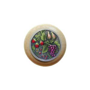 Natural Wood Tuscan Bounty Knob with Pewter