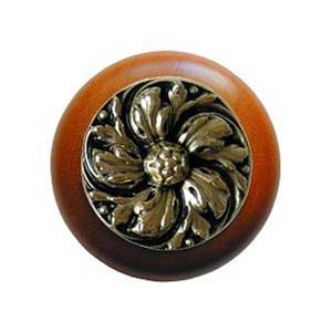 Cherry Wood Chrysanthemum Knob with Brite Brass