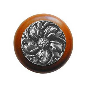 Cherry Wood Chrysanthemum Knob with Satin Nickel