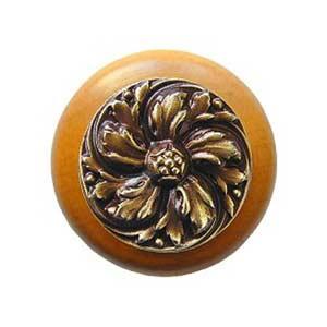 Maple Chrysanthemum Knob with Antique Brass