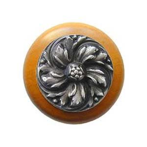 Maple Chrysanthemum Knob with Antique Pewter