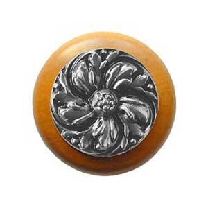 Maple Chrysanthemum Knob with Satin Nickel