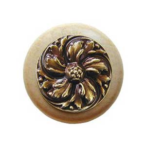 Natural Wood Chrysanthemum Knob with Antique Brass