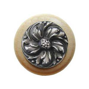Natural Wood Chrysanthemum Knob with Antique Pewter