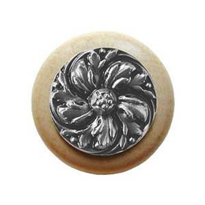 Natural Wood Chrysanthemum Knob with Satin Nickel