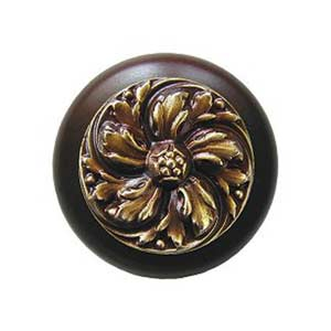 Dark Walnut Chrysanthemum Knob with Antique Brass