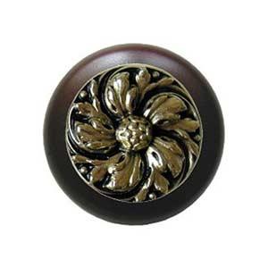 Dark Walnut Chrysanthemum Knob with Brite Brass