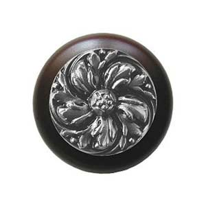 Dark Walnut Chrysanthemum Knob with Satin Nickel