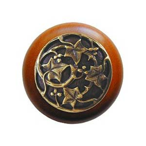 Cherry Wood Ivy Knob with Antique Brass