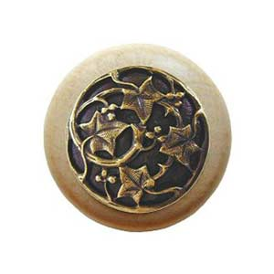 Natural Wood Ivy Knob with Antique Brass