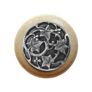 Natural Wood Ivy Knob with Antique Pewter