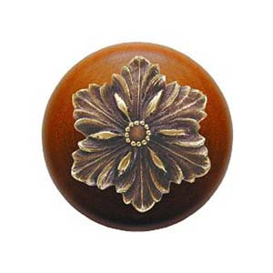 Cherry Wood Opulent Flower Know with Antique Brass