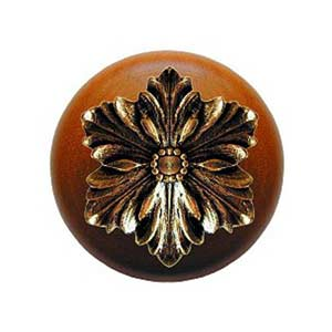 Cherry Wood Opulent Flower Knob with Brite Brass