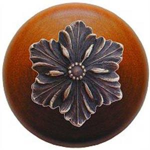 Cherry Wood Opulent Flower Knob with Antique Bronze